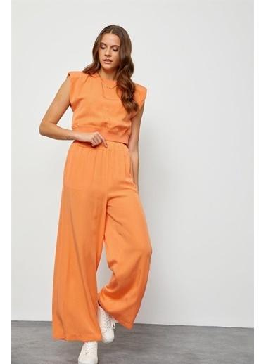Setre Lila Tencel Yüksek Bel Pantolon Vatkalı Crop Top Takım Oranj